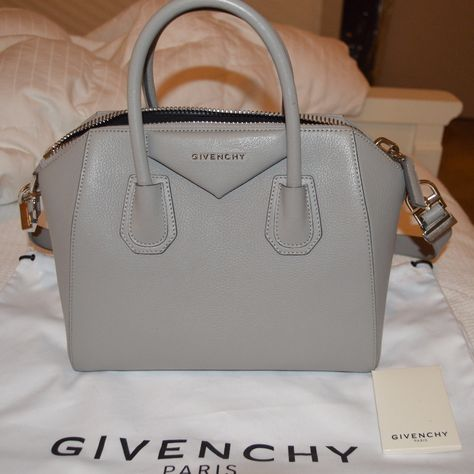 Givenchy Pearl Gray Small Antigona With Images Givenchy Pearl Pearl Grey Givency Antigona Bag