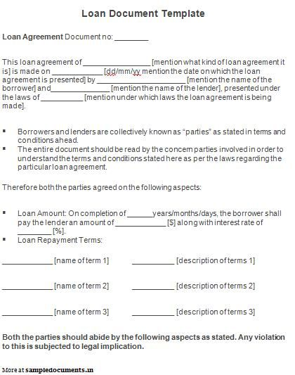 Printable Sample Personal Loan Agreement Form Legal Documents - money loan contract template
