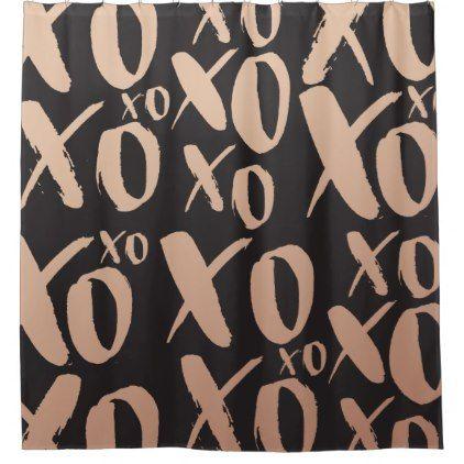 Modern Black Rose Gold Xo Xo Pattern Shower Curtain Zazzle Com