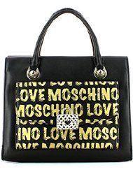 Bolso negro con detalles dorados moschino