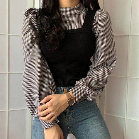 Women Elegant Sets Half Turtleneck Lantern Long Sleeve Pullover Blouse + Slim Knitted Short Vest 2020 Fahsion Suits 55701 Black-One Size