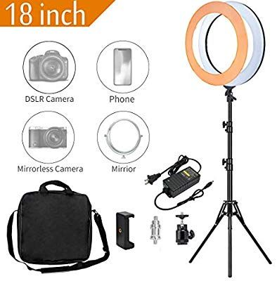 Adjustable 2700-5500K Bi-Color Temperature Ring Light SAMTIAN 14 Inches Outer YouTube Light Dimmable SMD LED Makeup Light with 2M Light Stand Phone Holder for Video Shooting YouTube Video Portraiture