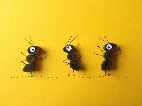 Ants on yellow background, quilled art, greeting card, blank card, insects, animals, free post to Ireland