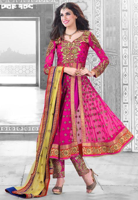 Dark Pink Net and Art silk Anarkali Trouser Kameez Cum Lehenga Online Shopping: KMR68