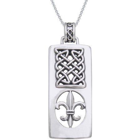 Jewelry Trends Sterling Silver Celtic Fleur De Lis Pendant Necklace 18