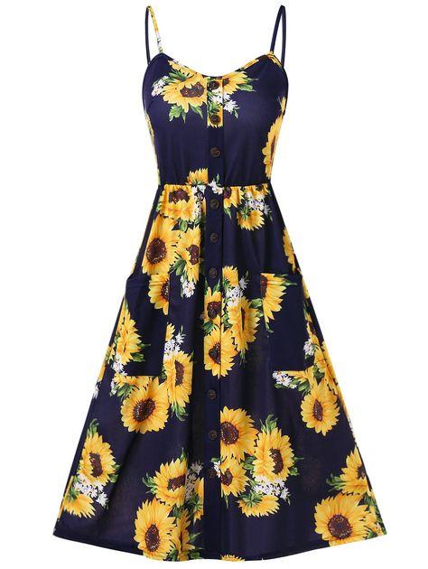 Sunflower Print Button Up A Line Cami Dress Deep Blue 2xl