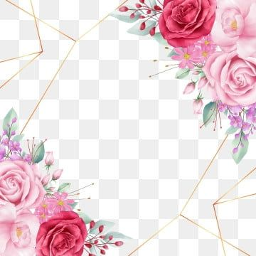 Floral Border Decoration With Geometric And Roses For Wedding Or Greeting Cards Composition Floral Clipart Flowers Invitation Png And Vector With Transparen Watercolor Flower Illustration Floral Poster Flower Illustration