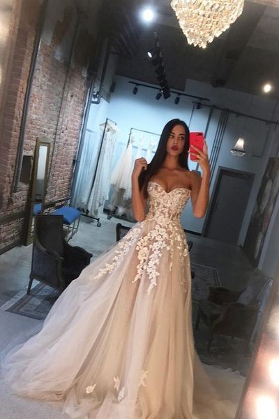 Ball Gown Sweetheart Open Back Ivory Tulle Wedding Dresses with Appliques,Charming Bridal Gown