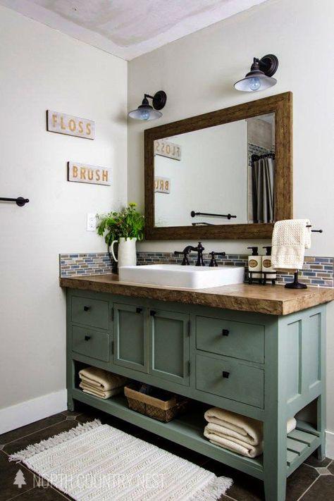 Gianna S Home Rustic Farmhouse Metal Windmill Wall Clock 14 5 With Images Wooden Bathroom Vanity Bathroom Interior Small Bathroom