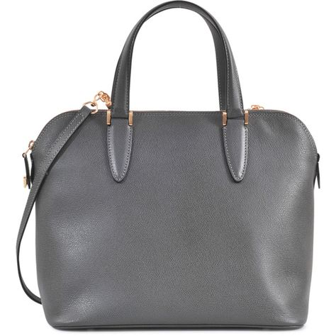 Valextra Bugatti My Logo medium bag (35.720 ARS) ❤ liked on Polyvore featuring bags, handbags, shoulder bags, purses, bolsas, accessories, bolsos, grey, genuine leather shoulder bag and leather purses