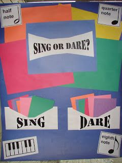 """Sing or Dare: """"Sing"""" cards like """"sing [the song] while marching the beat"""" or """"sing the song, but buzz all the words 'the'."""" """"Dare"""" cards musical things like """"sightread a simple song"""" or """"play the melody on the xylophone. Primary Songs, Primary Singing Time, Lds Primary, Primary Lessons, Sight Singing, Singing Games, Primary Program, Disco Party, Neon Party"""