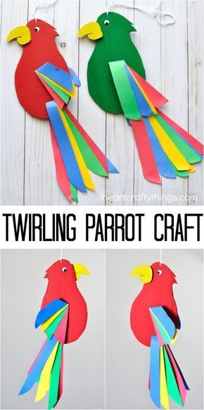 Colorful And Fun Twirling Parrot Craft Artesanías De Aves Manualidades Escolares Niños Artísticos