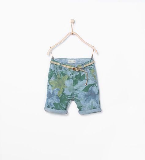 ZARA的图片 1 名称 繫帶裝飾腰帶花朵印花百慕達短褲
