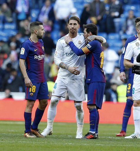 Ramos embraces #Messi at full-time. #realmadrid