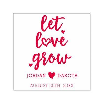 Modern love script & botanical wreath custom names rubber stamp.