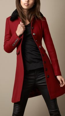 I want this coat! Minus the fur collar. Burberry Shearling Collar Military Coat in Deep Red