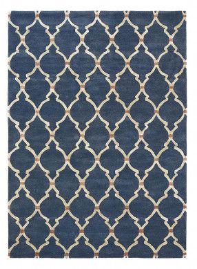 Sanderson Kurzflorteppich Empire Trellis Dunkelblau Frontansicht Blaue Teppiche Teppich Blau