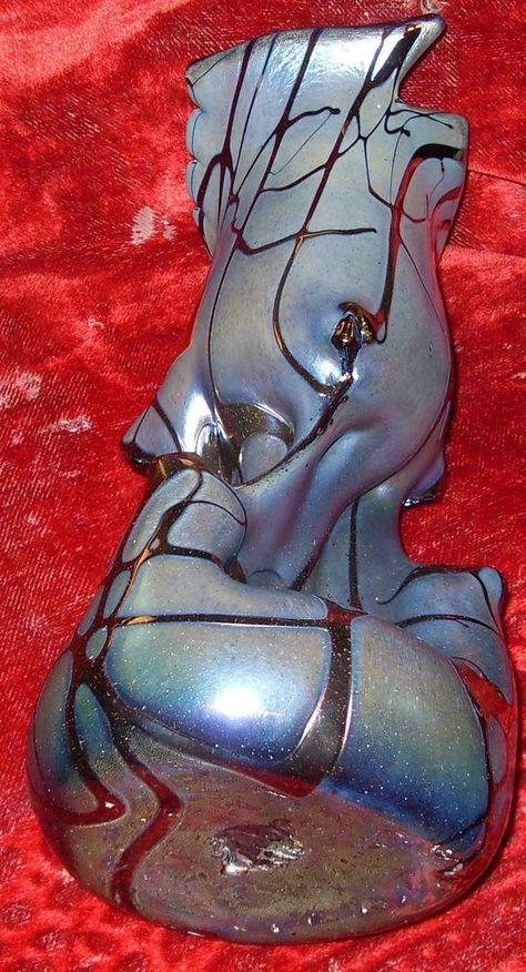 Vase perlmutt blau irisierend JOSKA Bodenmais Designer Unikat Einzelstück