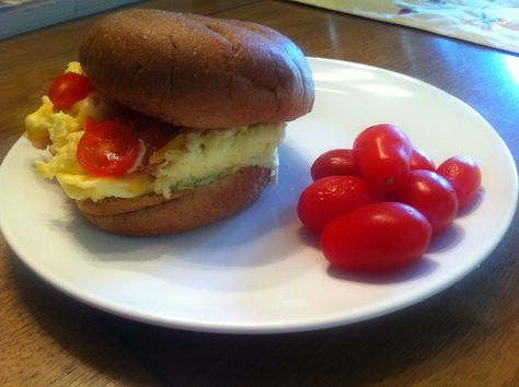 Egg Sandwich: This is a delicious lunch option that is quick and easy. I layer a toasted, whole grain bun with scrambled eggs (1 whole+2 whites), 2 TB shredded reduced-fat cheese, and sliced grape tomatoes. Very satisfying and just 285 cals, with 24 filling grams protein & 5g fiber!