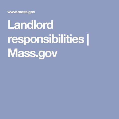 Landlord responsibilities | Mass.gov