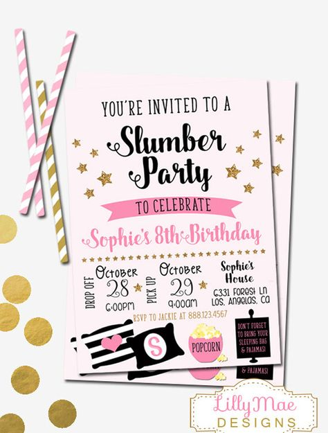 Slumber Party Invitation Sleepover By LillyMaeDesigns