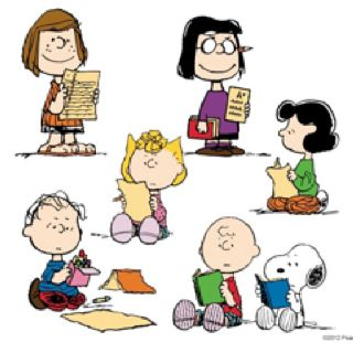 The Peanuts gang enjoying a good read.