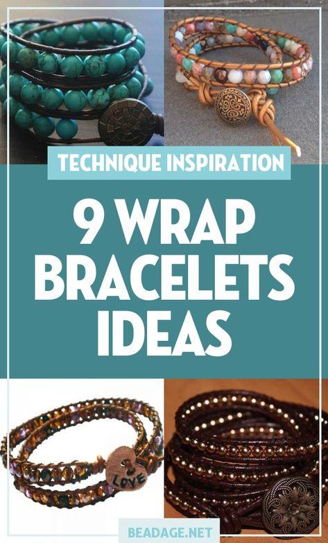 9 Wrap Bracelets Jewelry Making Ideas - Famous Last Words Beaded Wrap Bracelets, Handmade Bracelets, Beaded Jewelry, Handmade Jewelry, Handmade Wire, Diy Leather Wrap Bracelet, Making Bracelets With Beads, Beaded Leather Wraps, Crochet Bracelet