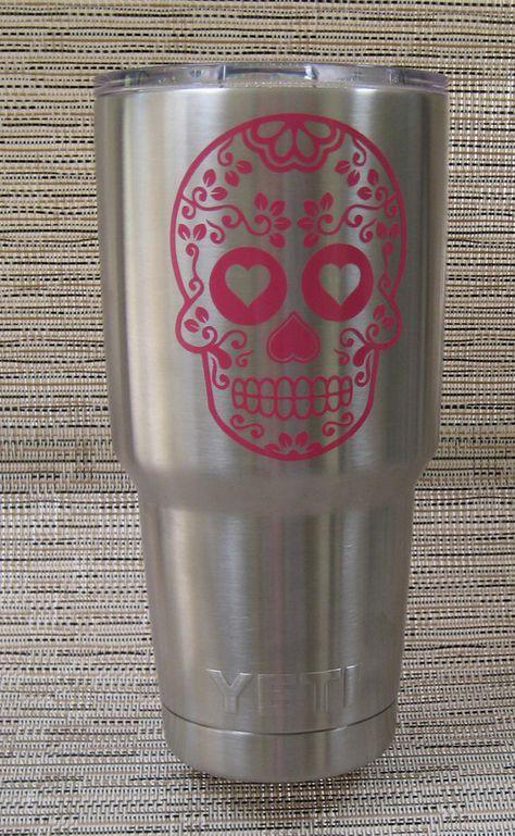 Custom Order Yeti Cup With Sugar Skull Decal For Kathy HFree - Sugar skull yeti cup