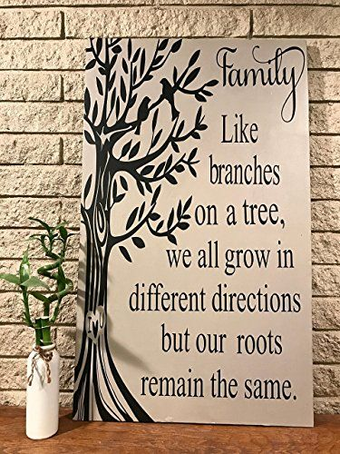 Family Tree Hand Painted Wooden Sign Rustic Shabby Chic Inspirational Wall Hanging Custom Hand Painted Wooden Signs Painted Wooden Signs Wooden Signs