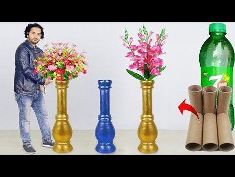 Big Size Corner Flower Vase Make At Home Paper Roll Flower Vase For Home Decoration Youtube Flower Vase Making Flower Vase Diy Large Flower Vases