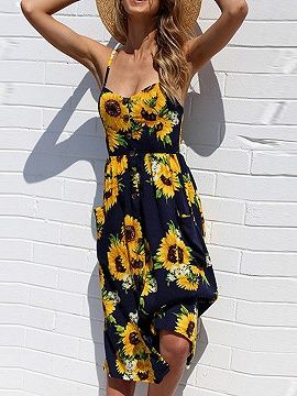 d6f79b66bd Black Spaghetti Strap Button Placket Sunflower Print Midi Dress ...