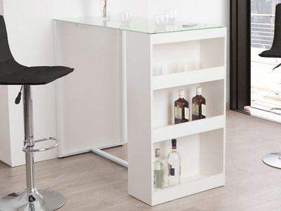 Table De Bar Avec Rangement Et Plateau En Verre Trempe H 105cm Tetris Blanc Table Bar Cuisine Cuisine Appartement Et Table Relevable