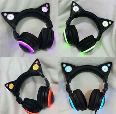 Cat Ear Gaming Mic Headphones LED Speakers Music Audio Lights USB Rechargeable