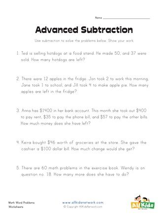 Subtraction Word Problems Worksheet In 2021 Subtraction Word Problems Word Problems Subtraction