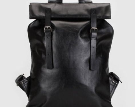 Black leather rectangular backpack-bag with detachable straps
