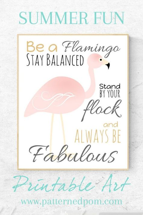 Be a Flamingo Printable Wall Art | Stay Balanced, Always be Fabulous | Whimsical Pink Flamingo Summe