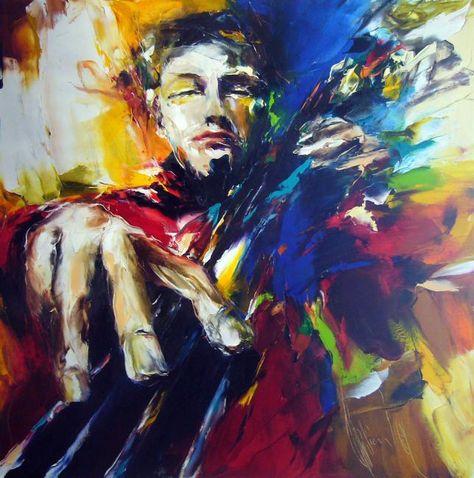 solo contre basse angelaking gallery - Peinture,  90x90 cm ©2009 par Christian Vey -