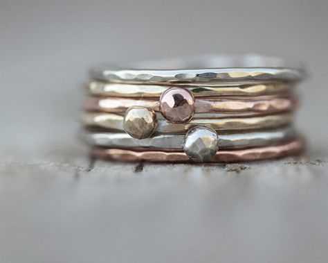 Holiday Fashion - Stacking Rings - Gold Silver Rose Set of 6 - 3 Nugget Rings and 3 Stackers Mixed Metal op Etsy, €