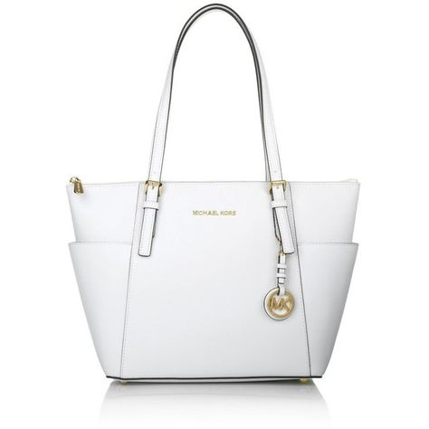 Michael Kors Handle Bags Michael Jet Set Item Ew Tz Tote Optic White 285 Liked On Polyvore Featuring Michael Kors Tasche Tasche Schwarz Weisse Taschen