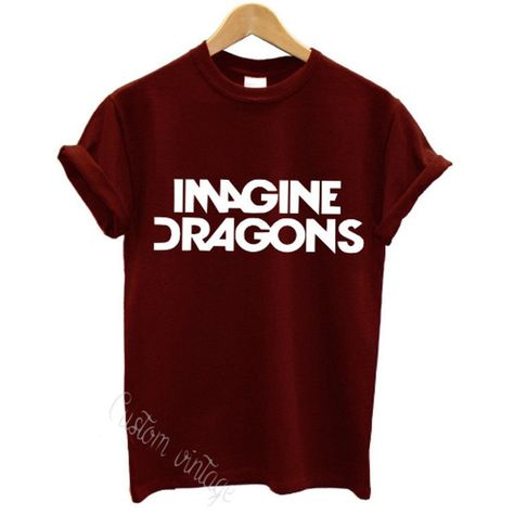 imagine dragons t shirt american rock band hardcore music tour indie... (£7.99) ❤ liked on Polyvore featuring tops, t-shirts, shirts, band tees, red dragon t shirt, rock shirts, red tee, red top and unisex shirts