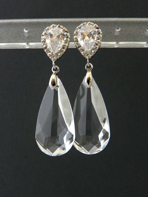 Swarovski Crystal Bridal Earrings: Clear Bridal by EstyloJewelry #EstyloJewelry #crystaljewelry