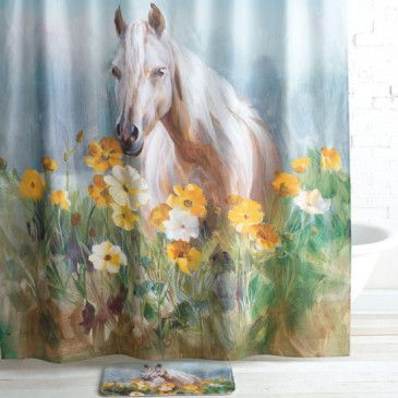 Flowering Field Horse Shower Curtain Horse Shower Curtain Shower Curtain Horse Flowers