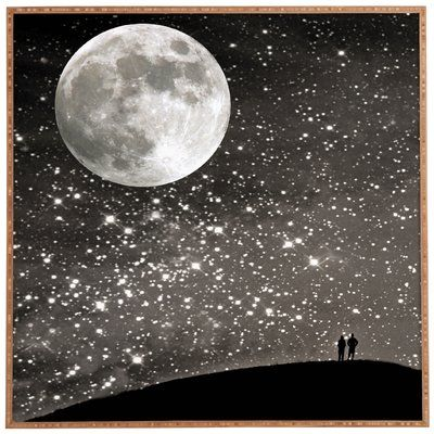 """East Urban Home 'Love Under the Stars' Graphic Art Print Format: Brown Frame, Size: 20"""" H x 20"""" W x 1"""" D"""