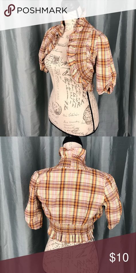 Juniors Rule plaid ruffled hem jacket Plaid ruffled hem jacket 97% cotton 3%spandex  Size small B03-06 juniors rule Jackets & Coats