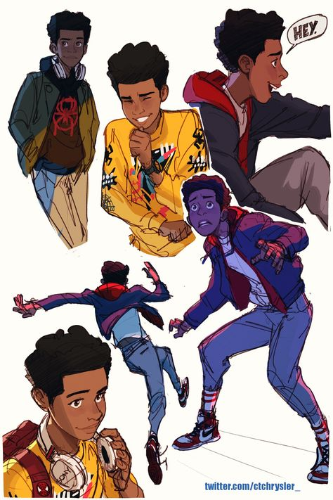 Drawing Marvel Miles Morales by ctchrysler -- go see into the spider-verse right now - Marvel Dc, Spiderman Kunst, Comic Anime, Spider Verse, Character Drawing, Character Design Inspiration, Poses, Fanart, Spiders