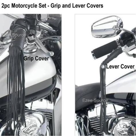 Motorcycle Leather Clutch Brake Covers with Fringes Black Genuine Leather