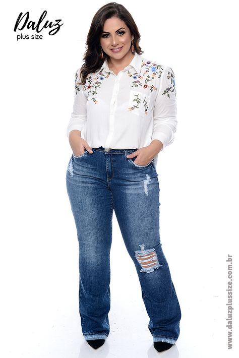 b639a8537 Calça Skinny Jeans Plus Size Khawane
