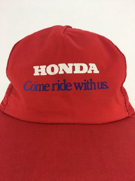 Vintage 80s 90s HONDA Come Ride With Us Snap-Back Trucker Cap  7eeb633d3dc