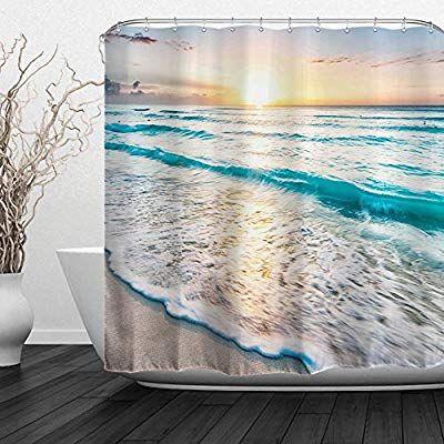 Amazon Com Alfalfa Home Bathroom Decorative Polyester Fabric Printed Sea Beach Theme With Images Beach Theme Shower Curtain Seashell Shower Curtain Beach Shower Curtains