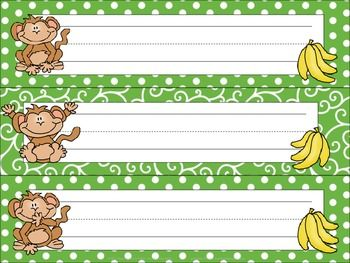 Green Jungle Monkeys Name Tags Desk Plates Monkey Names Cute Monkey Jungle Monkey
